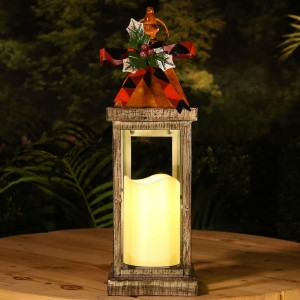 "14"" Country Rustic Metal Holiday Candle Light Lantern"