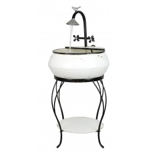 """34"""" Antique Metallic White Cylindrical Fountain Sink with Stand"""