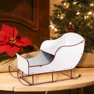 "15"" Cream White Metal Christmas Sleigh"