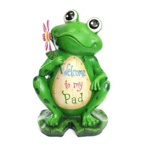 "18"" 'Welcome to my Pad' Frog Statuary"