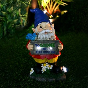 Solar 'To Gnome Me is To Love Me' Gnome Statue
