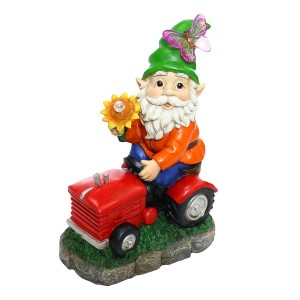 "Solar ""Welcome"" Gnome on Tractor with LED Lights"