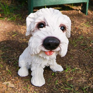 White Puppy with Big Head Statue