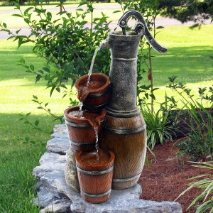 "24"" Vintage Barrel Water Pump with Buckets Fountain"