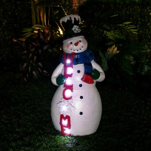 "20"" Christmas Snowman 'Welcome' Statue with LED Lights"