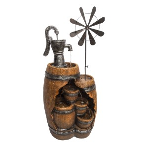 """40"""" See-Through 4-Tier Barrel Fountain with Pump and Windmill"""