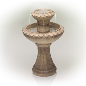 "24"" Brown Two Tier Pedestal Fountain"
