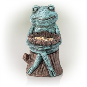 "16"" Sitting Turquoise-Colored Frog Garden Statue with Flower"