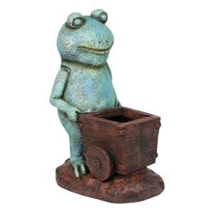"""15"""" Cart Pushing Turquoise-Colored Frog Garden Statue"""