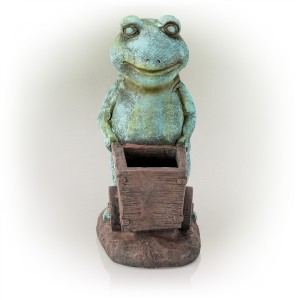 "15"" Cart Pushing Turquoise-Colored Frog Garden Statue"