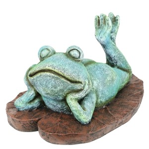 """9"""" Sun-Bathing Bare Back Turquose-Colored Frog Garden Statue"""