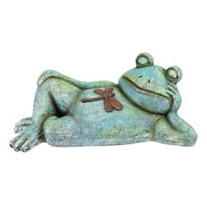 """7"""" Sleeping and Relaxed Frog Garden Statue with Dragonfly"""