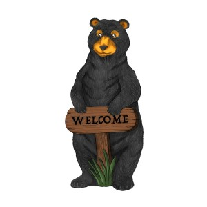 """36"""" Standing Black Bear Garden Statue with Welcome Sign"""