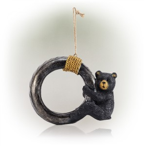 """12"""" Tire Swing Bird Feeder with Black Bear Cub and Rope"""