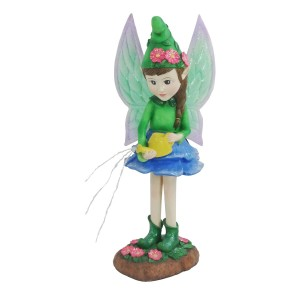 "24"" Solar Nixie Fairy Statue with LED Lights and Watering Can"