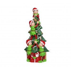"12"" Christmas Tree and Elf Stack Statue"