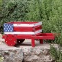American Flag Wheel Barrel Planter