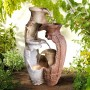 "39"" Tall Distressed Garden Pot Fountain with Halogen Lights"
