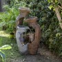 """39"""" Tall Distressed Garden Pot Fountain with Halogen Lights"""