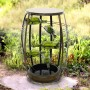 Metal Fountain with Tiered Glass Bottles