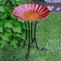 "18"" Red Glass Birdbath Topper"