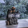 """15"""" Solar Couple of Bears with Lantern and Welcome Sign"""