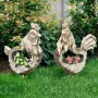 "18"" Stone Rooster Planter with Wooden Carved Finish"