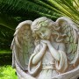 """19"""" Medieval Guardian Angel Garden Statue with Mossy Finish"""