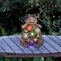 "12"" Solar Sitting Succulent Frog Garden Statue with LED Lights"